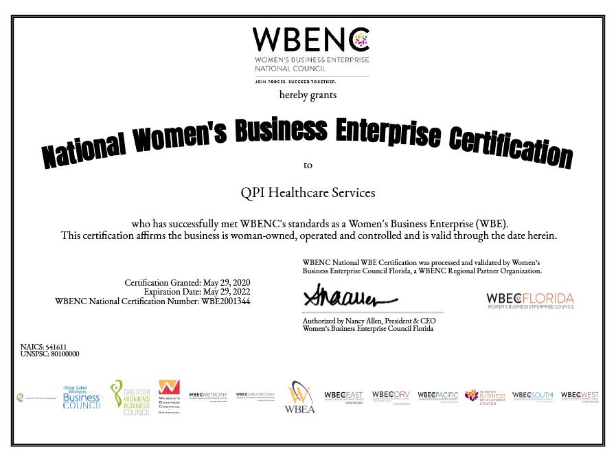 women cert -QPI Healthcare Services